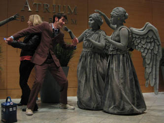 weeping angels vs the Doctor by penguinluv4ever