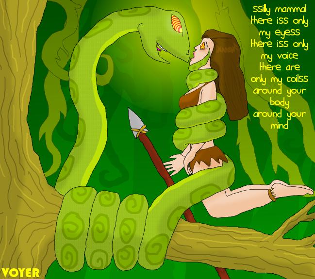 Jungle girl and Hypno-snake by hypnovoyer