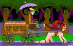 MCed ponygirl pulls cart by hypnovoyer