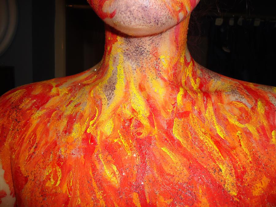 Orange Body Paint Fire Body Paint 1 by