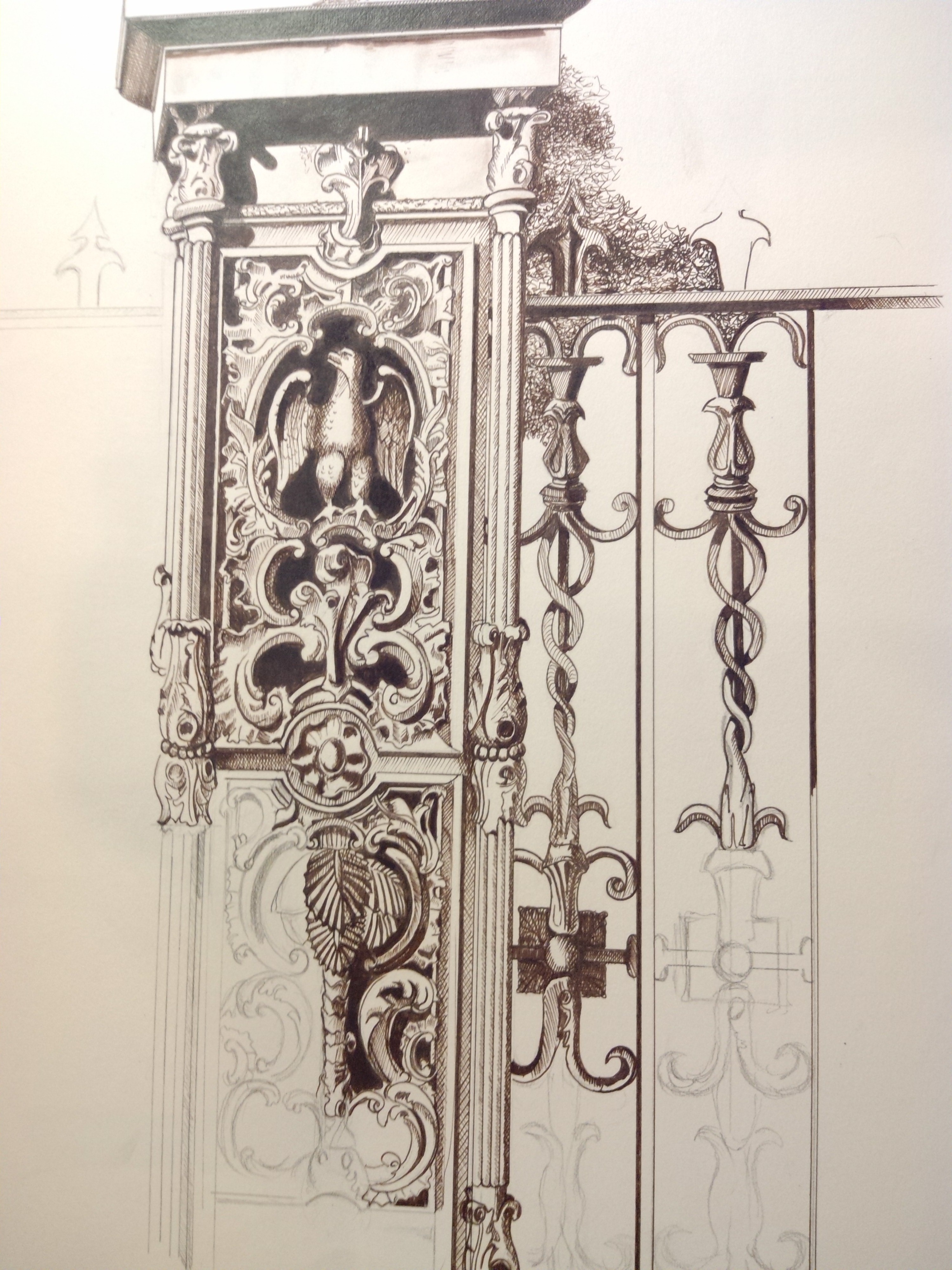Sketch of wrought iron gate by galarzagc on deviantart