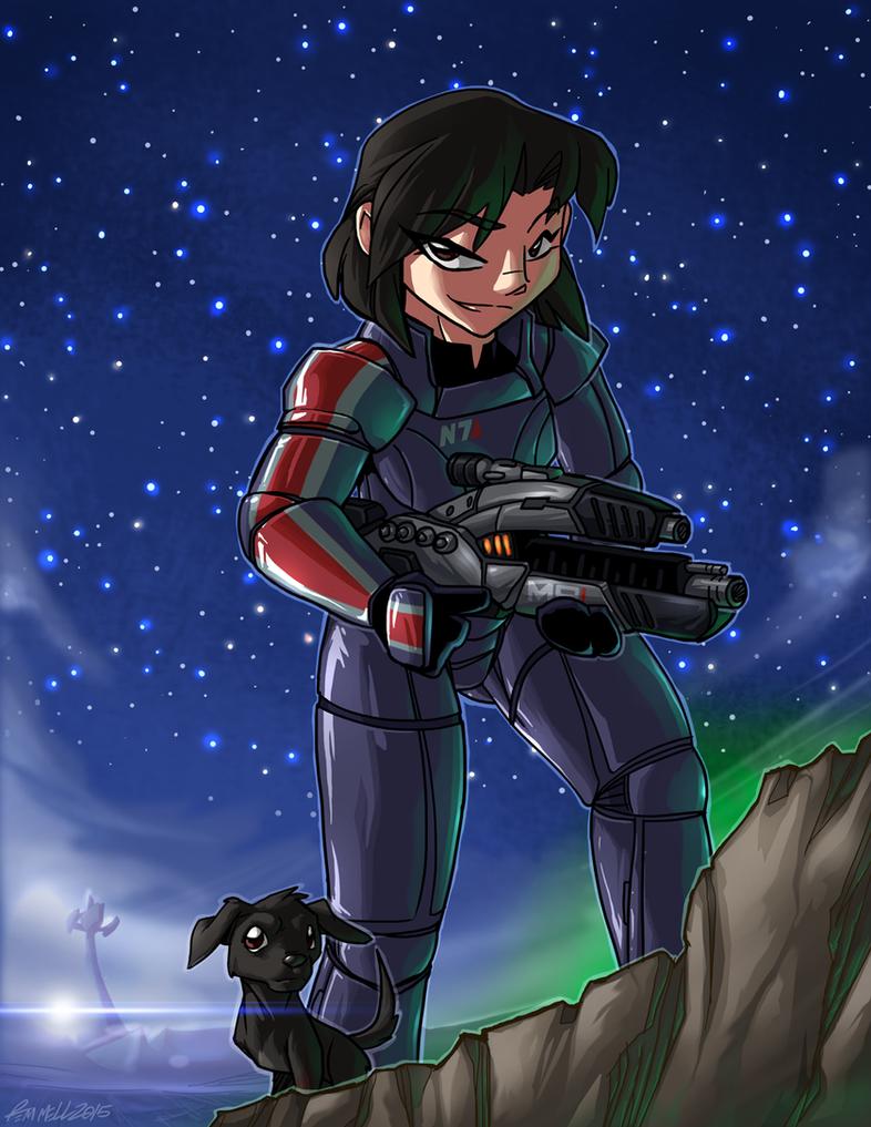MASS EFFECT - Commander Sara Shepard by FoxxFireArt
