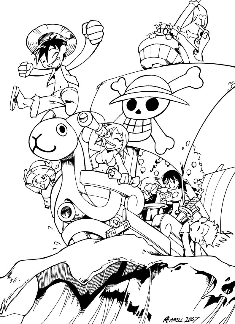 One Piece Chibi bw by FoxxFireArt