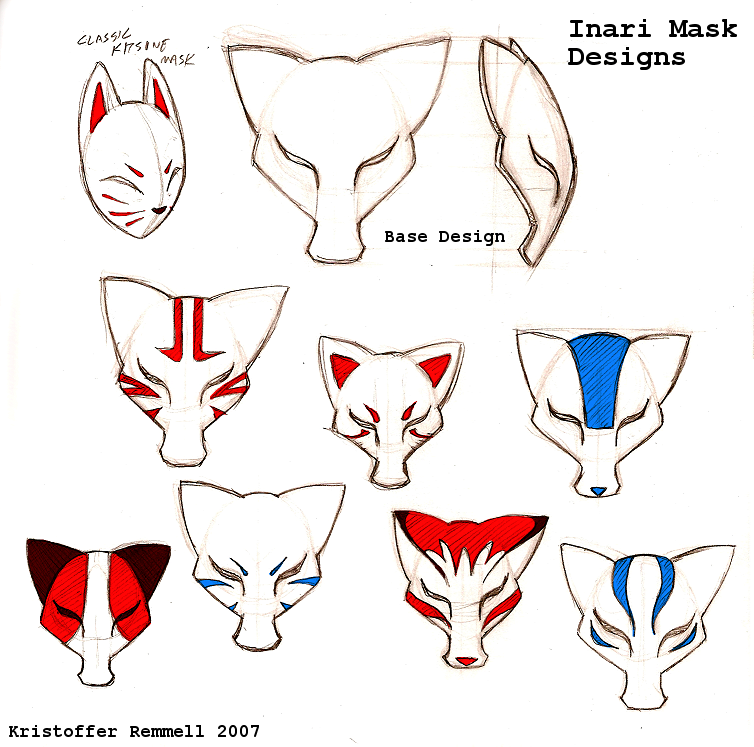 Inari Mask designs by FoxxFireArt on DeviantArt