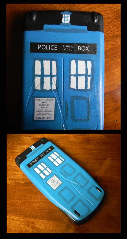TARDIS painted calculator by mandalorianmedjai