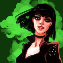 Green heart - portrait sketch by Hyanide