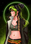 Jolyne in Jotaro's outfit