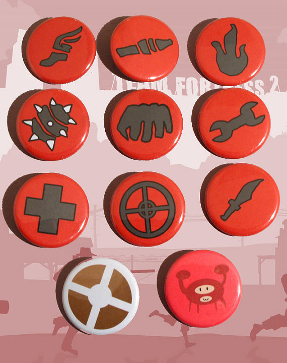 Team Fortress 2 Class Logo And Spycrab Buttons By Tia Lee On