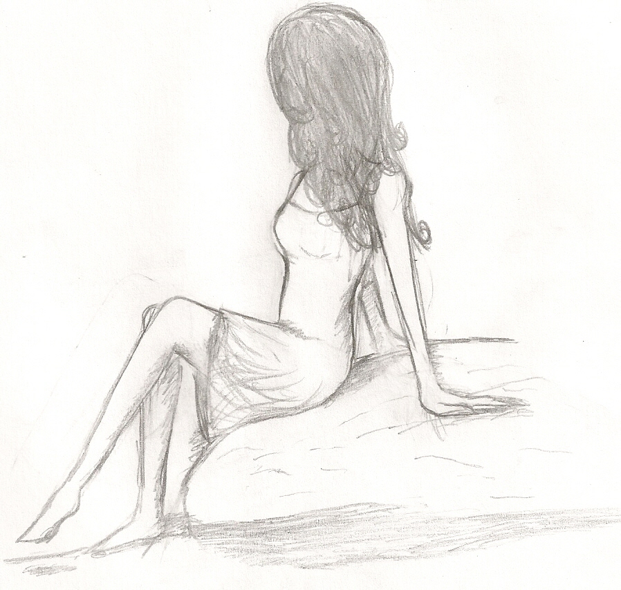 Girl sitting on a rock by kennedy104 on deviantart for How to draw a girl looking down