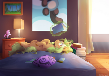 (Commission) comfy reading by FlashOfAurora