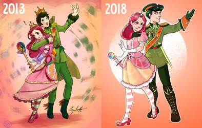 Candy and Veggies Redraw - 2013 vs 2018 by AngieMyst