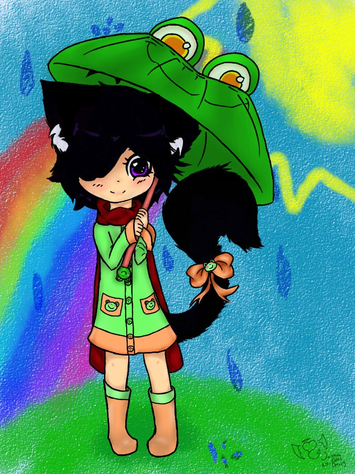 Echo in the rain: coloured by Echo-Neko8