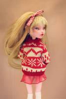 Ruby in sweater - Monster High OOAK doll by Szklanooka