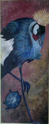 Crane and Turtle painting