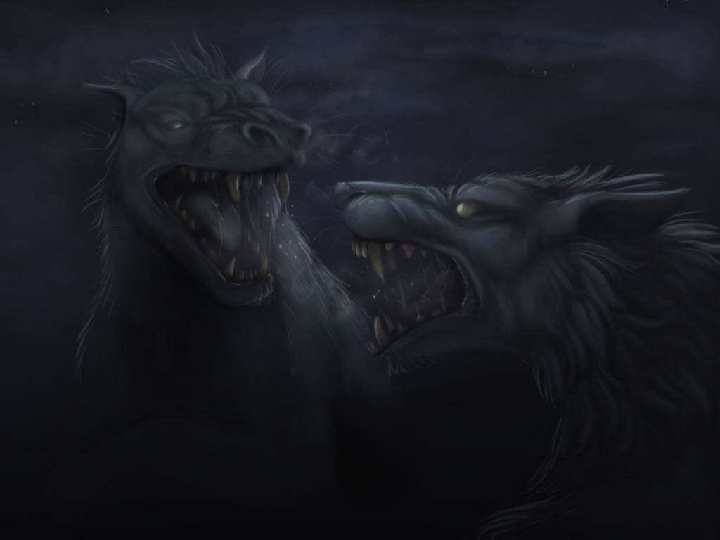 Warg Battle by AnnieHyena on DeviantArt Warg Riders Drawings