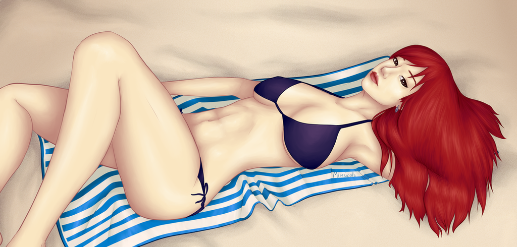 Erza at the Beach by Mimsicals
