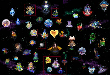 Kingdom hearts Worlds Map by ps2105