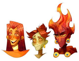three decapitated heads by Wheatu