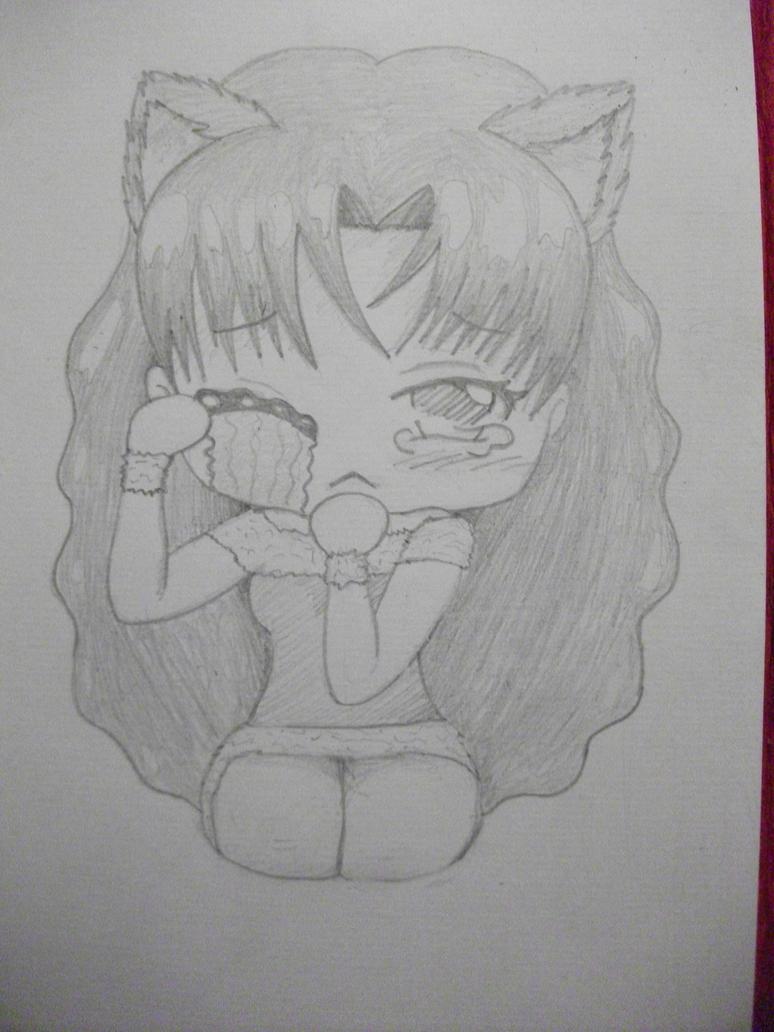 Cat chibi girl crying by MisuAkuma on DeviantArt