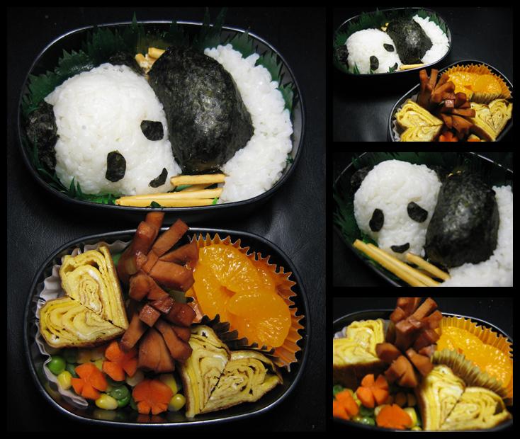 Panda and Hearts Bento by sake-bento