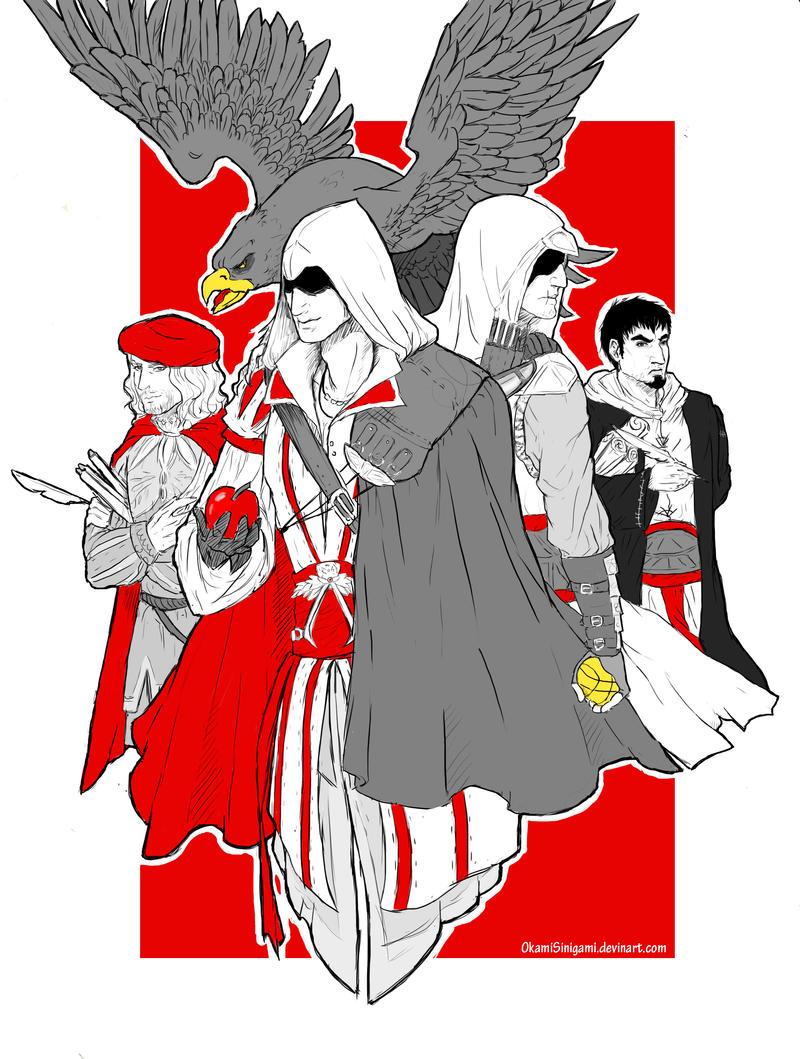 Five eagles by OkamiSinigami