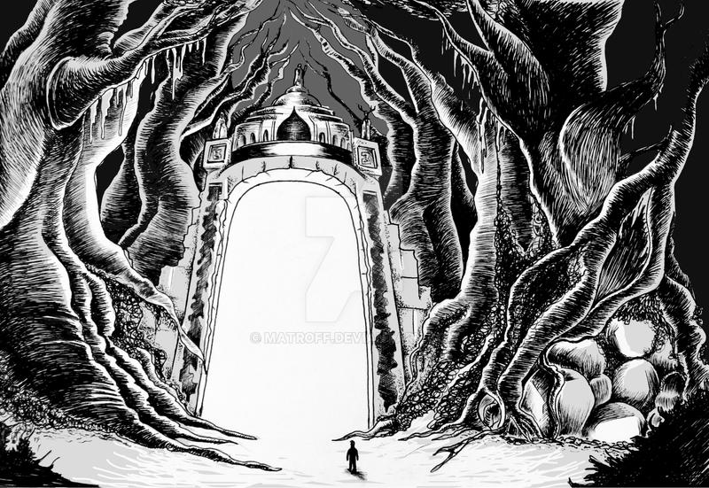 Magical Gate Line Drawing by MatRoff