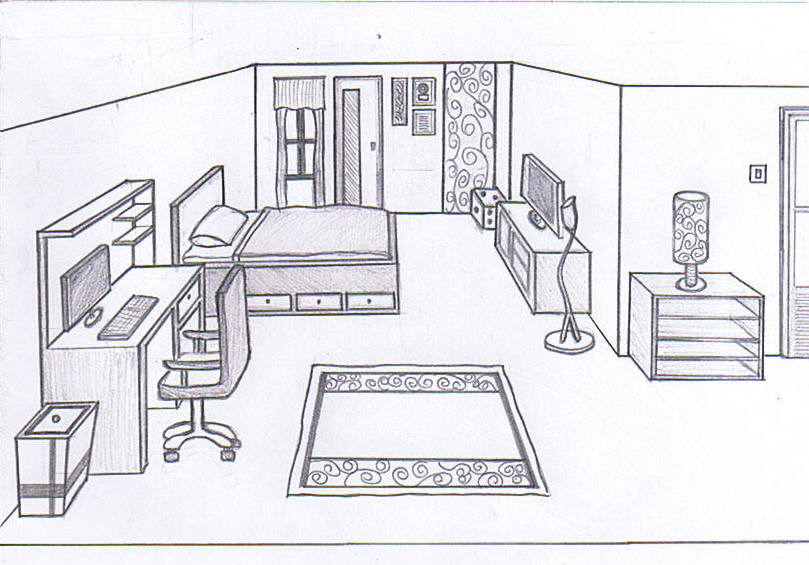 Bedroom Sketch 1 0 By 809 565 Room