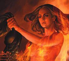 Faith the slayer in fire by gothrocker17