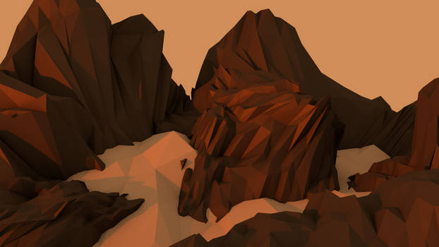 Low Poly Landscape Mountains with Snow