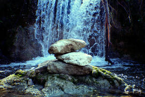 Falls And Rock Sculpture by PhillyPuddy
