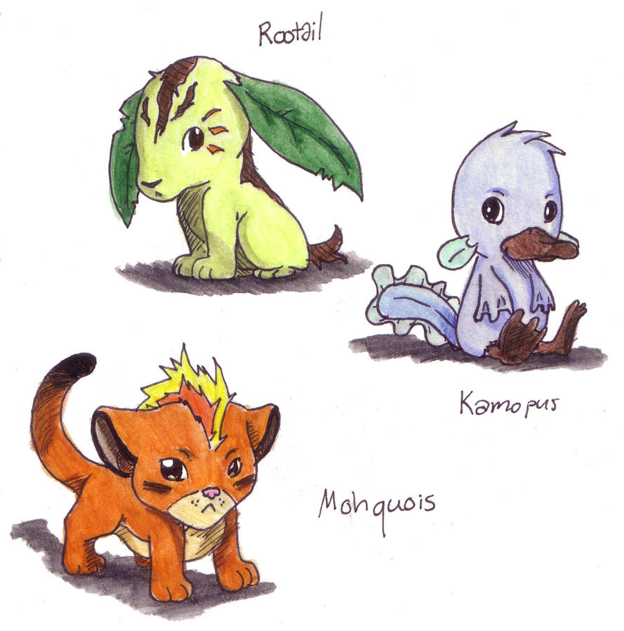 My fakemon starters by InnuDoggy on DeviantArt