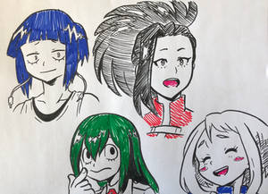 Inking practice with class 1-A girls