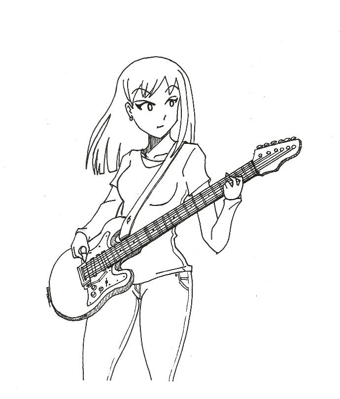 The Gallery For --u0026gt; Anime Girl With Guitar Drawing