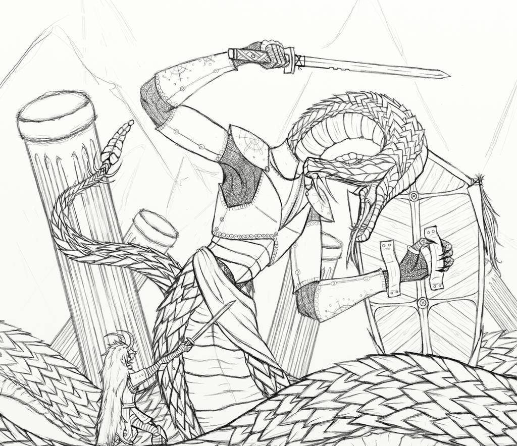 Snake battle WIP by cross-the-swirl
