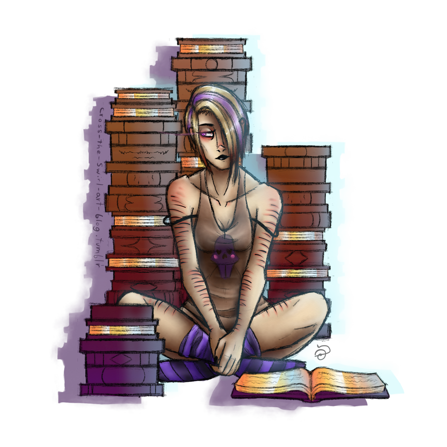Solene With Books by cross-the-swirl