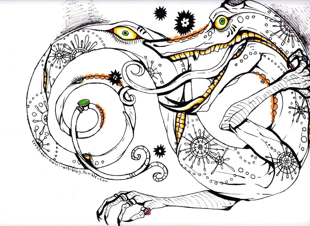 Crazy dragon by cross-the-swirl