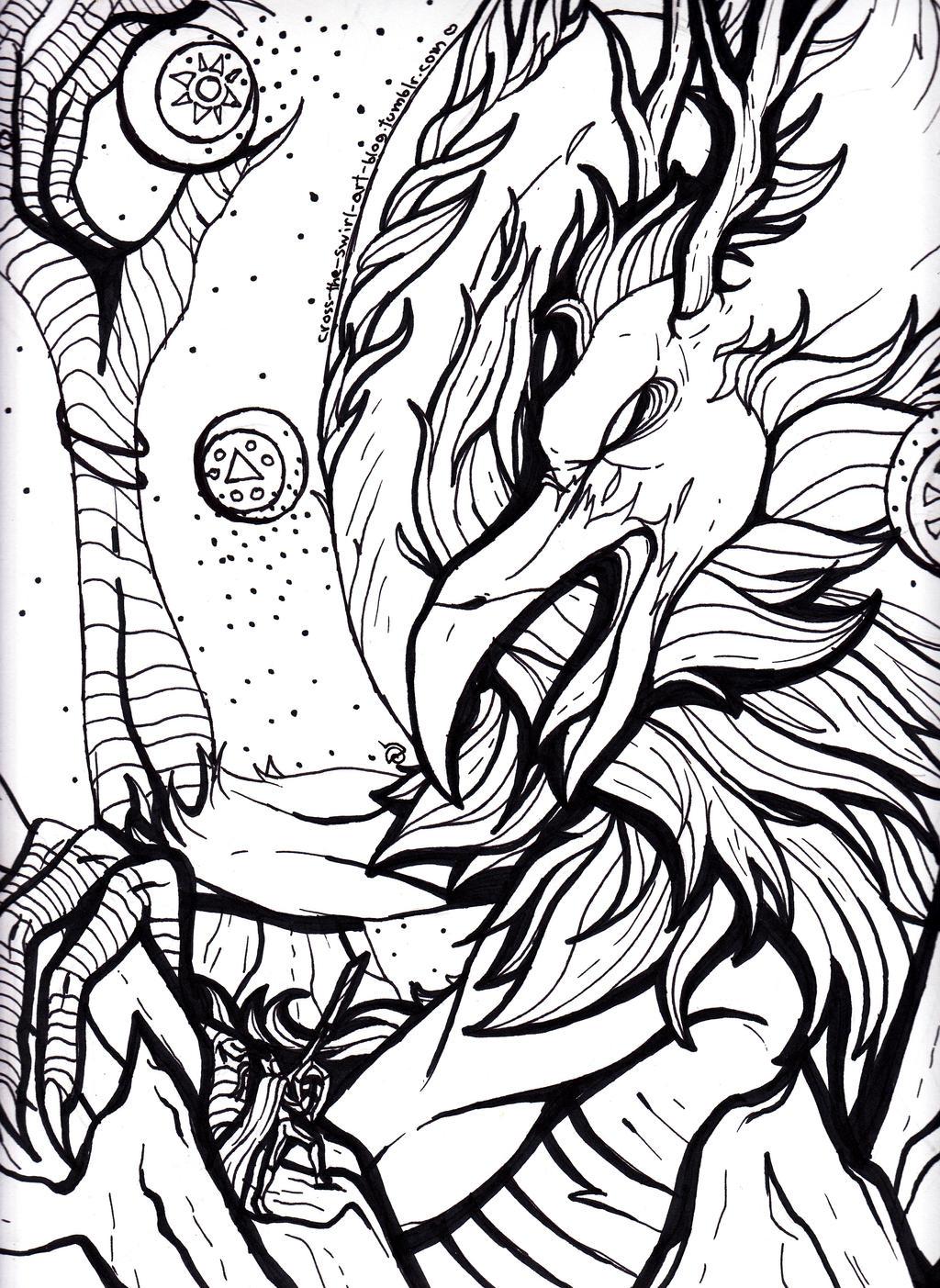 Dragon battle. by cross-the-swirl