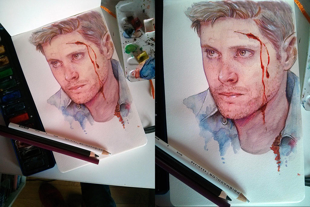 Dean Winchester - Watercolor by Petite-Madame