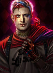 Spn x DC Comics - Jensen as Harley Quinn by Petite-Madame