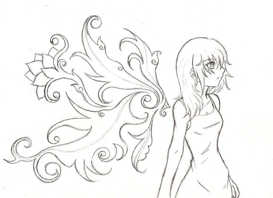 Kingdom Hearts Namine Drawing Sketch Coloring Page