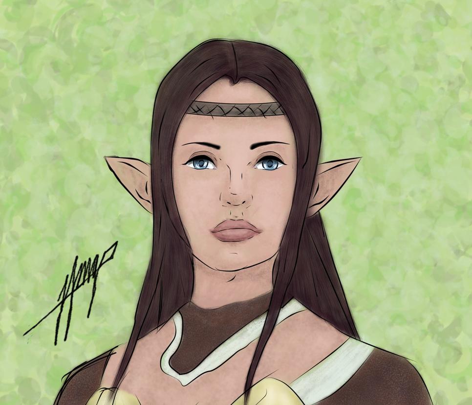 [Line Art Color]  female Elf 4 by JohnnyIpsilon