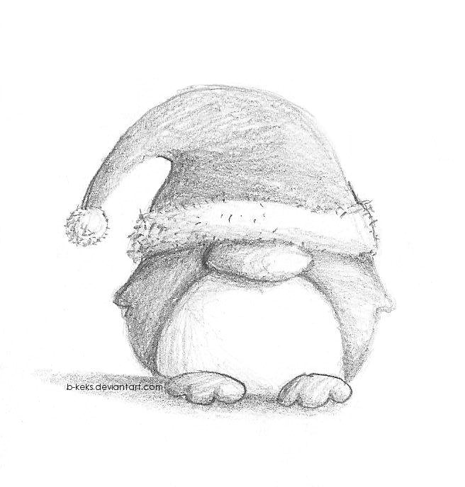 Christmas penguin by b keks on deviantart for Small drawing ideas