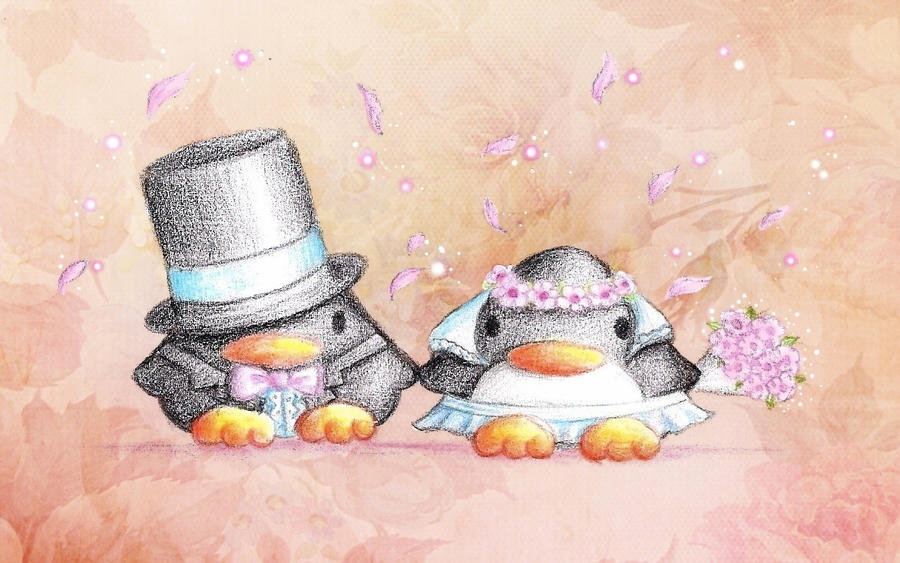 Wedding Penguins by B-Keks