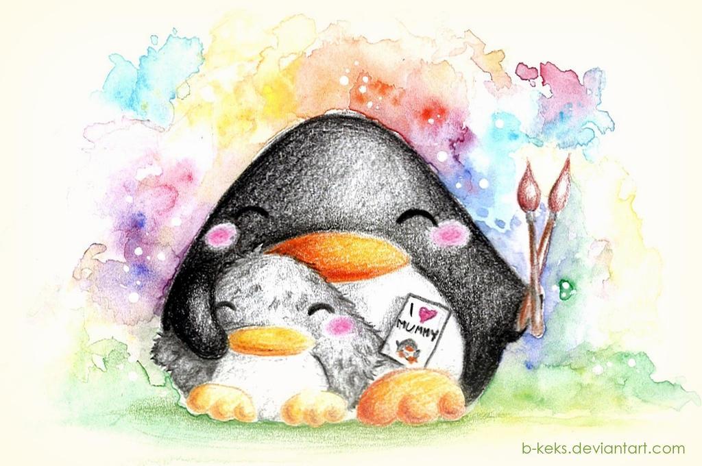 Mommy Penguin by B-Keks