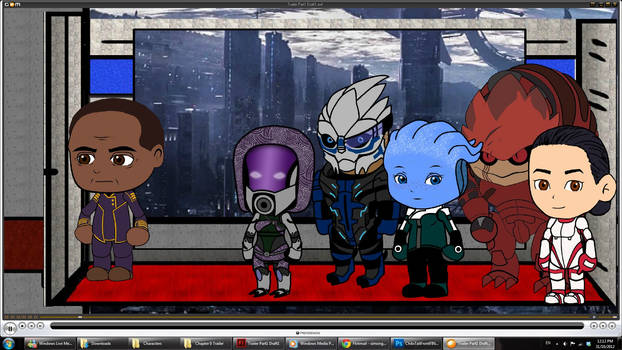 Mass Effect Characters in a slow moving Elevator