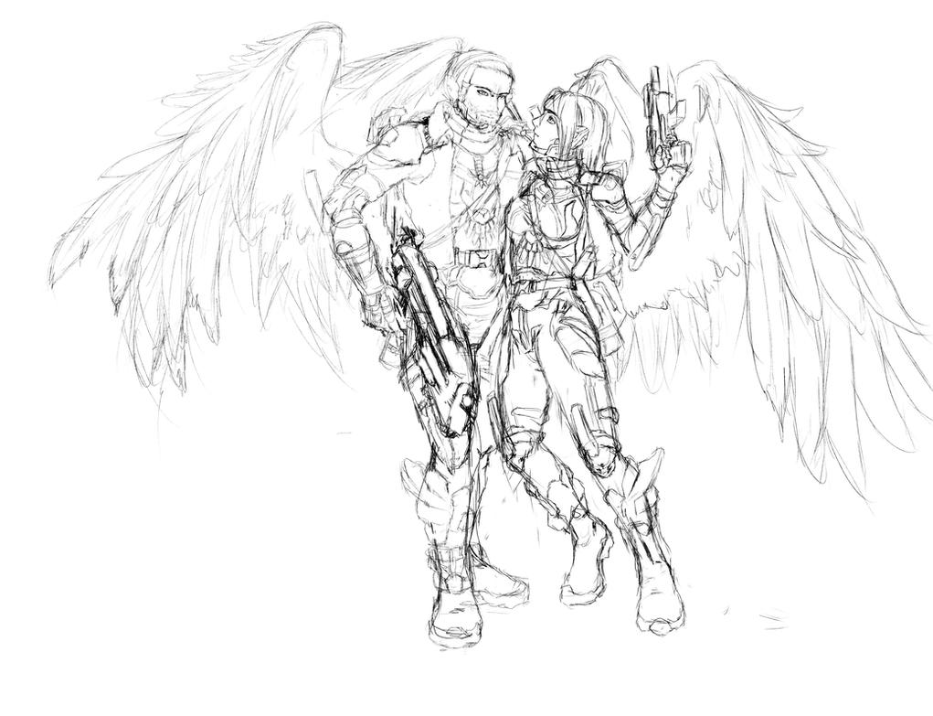 Captain Axenia Amion and soldier Dustin Wiskon by Shuasu