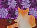 Orange Cat With Purple Flowers