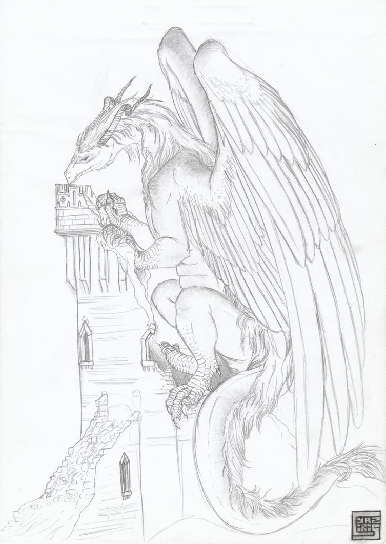 Elder wyrm on the tower by cyaziris