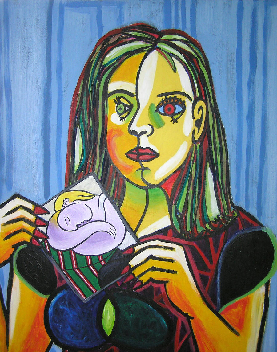 Picasso style self-portrait by Marie-B-portraits on DeviantArt