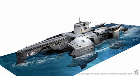 military submarine by NikYeliseyev